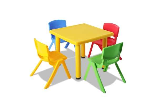 Kids 5 Piece Table and Chairs Playset (Yellow)