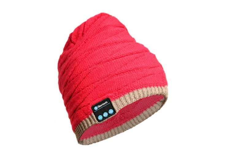 Select Mall Knit Hat Autumn and Winter Casual Fish Pattern Hat Wireless Call Music Bluetooth 5.0 Headset Hat-Red