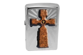 Zippo Cross 28801 Genuine High Polish Chrome Finish Pocket Lighter Windproof