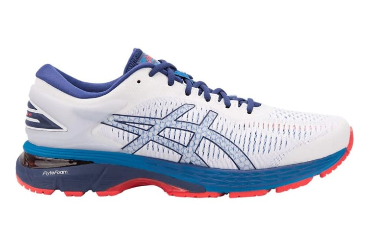 ASICS Men's Gel-Kayano 25 Running Shoe (White/Blue Print, Size 8)