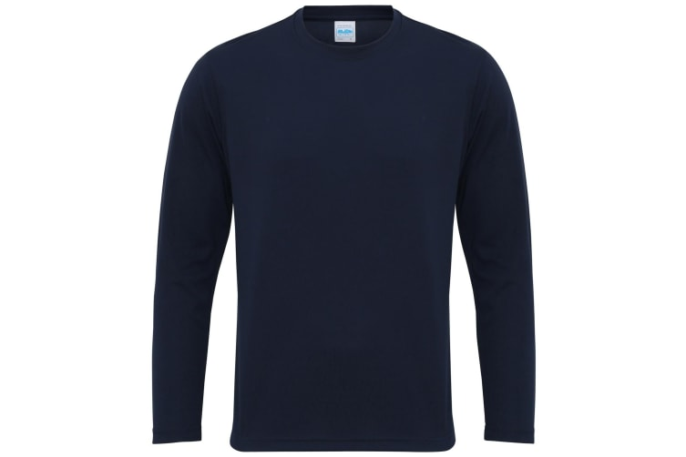 Just Cool Mens Long Sleeve Cool Sports Performance Plain T-Shirt (French Navy) (XL)
