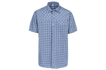 Trespass Mens Juba Short Sleeve Casual Shirt (Blue Check)