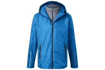 James and Nicholson Mens 3-in-1 Jacket (Royal Blue/Black) (L)