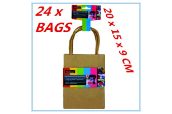 24 X SMALL CRAFT DIY BROWN PAPER GIFT BAGS WITH HANDLE PARTY WRAP WRAPPING FD