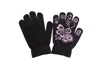 Girls Fun Winter Magic Gloves With Rubber Print (Black) (Up to 12 years)