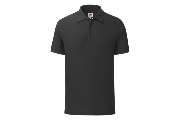 Fruit Of The Loom Mens Iconic Pique Polo Shirt (Black) (L)