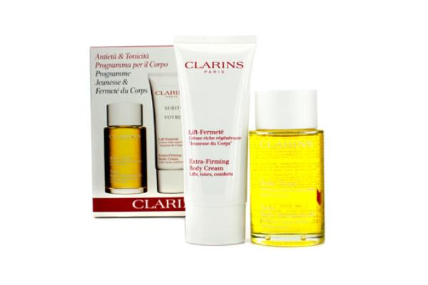 Clarins Body Firming Set: Tonic Body Treatment Oil 100ml + Extra-Firming Body Cream 100ml (2pcs)