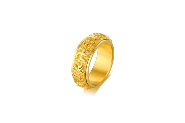 Religious Buddhist Mantra Character Titanium Steel Ring - Gold Gold 9