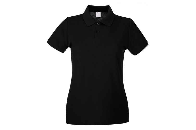 Womens/Ladies Fitted Short Sleeve Casual Polo Shirt (Jet Black) (X Small)
