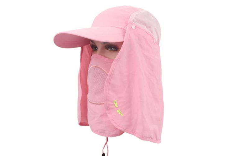 Outdoor Sun Protection Removable Neck&Face Flap Cover Hats Pink