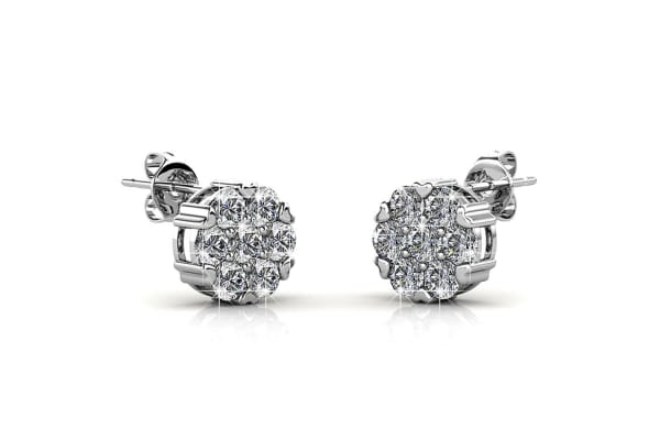 Cavier Studs Earrings w/Swarovski Crystals-White Gold/Clear