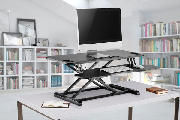 Ergolux Pro Height Adjustable Sit Stand Desk Riser (Large, Black)