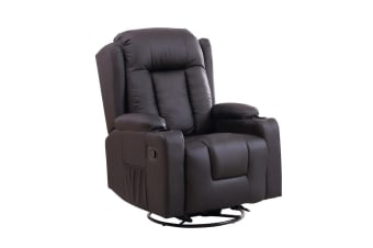 Perral Swivel 8 Point Heated Vibration Massage Recliner Chair - Black