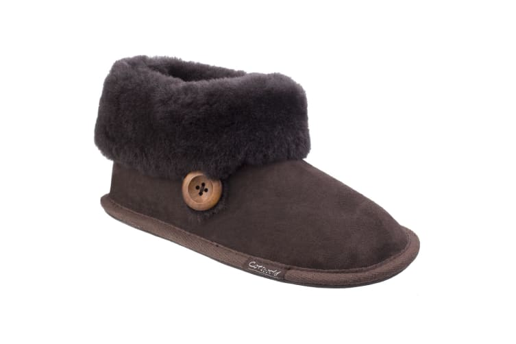 Cotswold Womens/Ladies Wotton Sheepskin Soft Leather Booties (Chocolate) (7 UK)