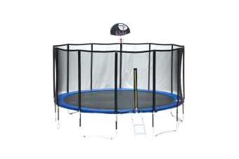 POP MASTER 16FT FIBERGLASS FLAT TRAMPOLINE WITH BASKETBALL HOOP SAFETY NET