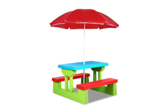 Keezi Kids Picnic Table Set with Umbrella - Red Blue and Green