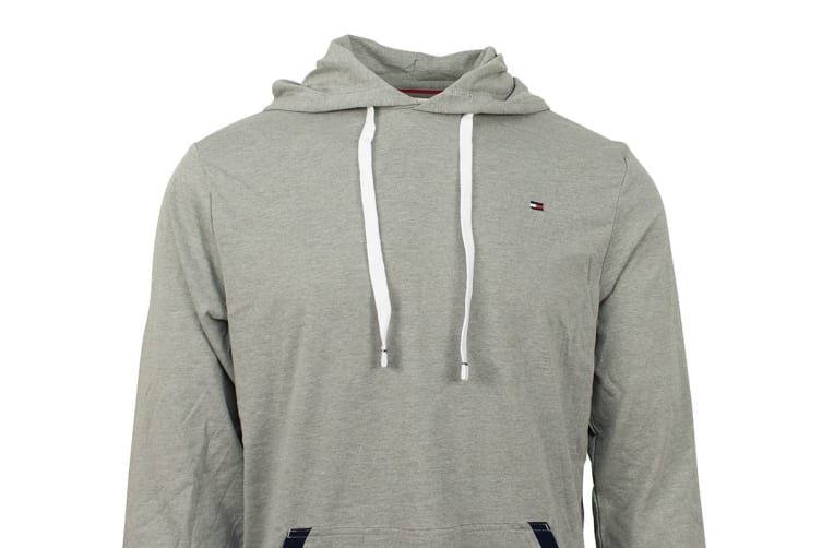 Tommy Hilfiger Men's Jersey Hoodie With Contrast Rib (Grey Heather, Size XL)