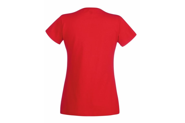 Fruit Of The Loom Ladies Lady-Fit Valueweight V-Neck Short Sleeve T-Shirt (Red) (S)