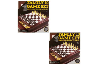 2PK Cardinal Classic Wooden 10 Game Set Checkers/Backgammon/Chinese/Checkers Toy