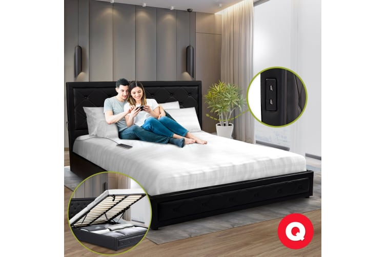 Royal Sleep Queen Leather Wooden Bed Frame Gas Lift Platform Base Black Bellezza
