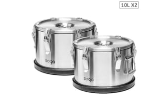 SOGA 2x 304 30*15cm Stainless Steel Insulated Food Carrier Food Warmer
