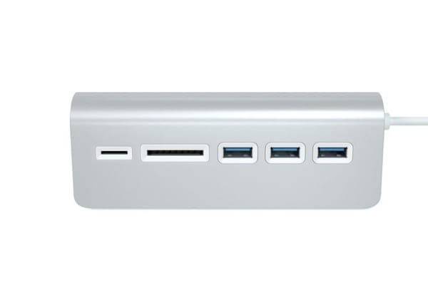 Satechi 3-Port USB 3.0 Hub + Card Reader (Silver)