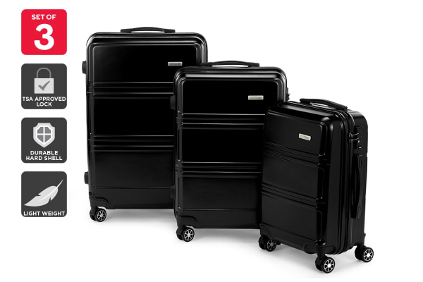 Orbis 3 Piece Kuredu Spinner Luggage Set (Black)