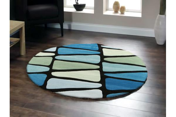 Rock Star Blue And Green Round Rug 200x200cm