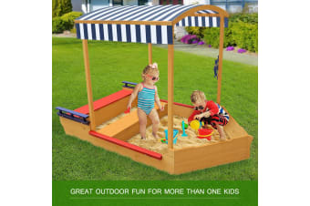 Kids Sandpit & Outdoor Wooden Table Set Megaplay Boat Shape With Canopy