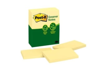 3M Post-It Recycled Note 655-RP Greener Yellow 76X127mm Pkt/12