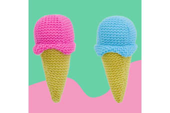 Knitted Ice Cream Cone Rattle - Blue