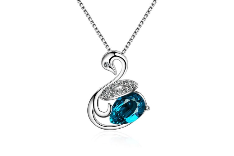 Loyal Teal Swan Necklace-White Gold/Blue Turqoise