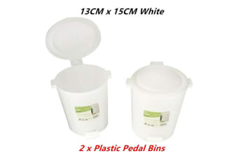 2 x Plastic Desktop Pedal Bins Small 13CMx15CM Office Desk Top Table Mini Waste