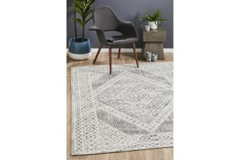 Lydia Charcoal Black & Natural White Hand Woven Vintage Look Rug