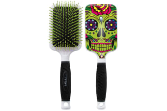 Bifull Skull Paddle Brush For Dogs (Green) (One Size)