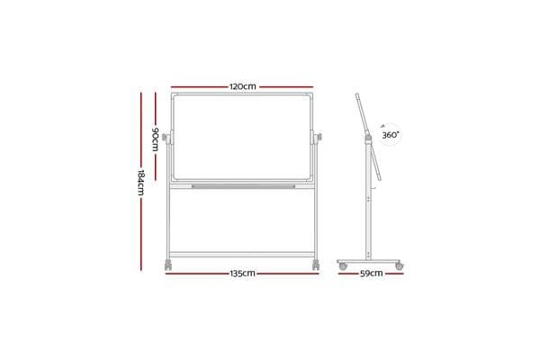 Mobile Whiteboard Free Stand Double Sided Magnetic Aluminum Frame 120x90cm