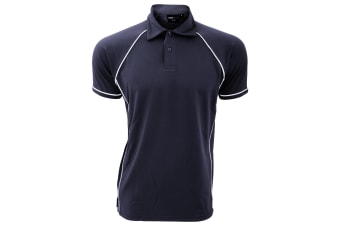 Finden & Hales Mens Piped Performance Sports Polo Shirt (Navy/White)