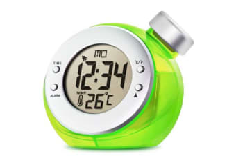 Water Powered Alarm Clock Large Lcd Display Calendar Temperature - Green