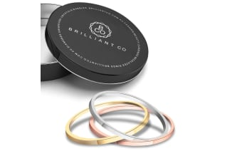 3 Pc Tri-Color Stackable Ring Set-Tri-Tone Gold Size US 9