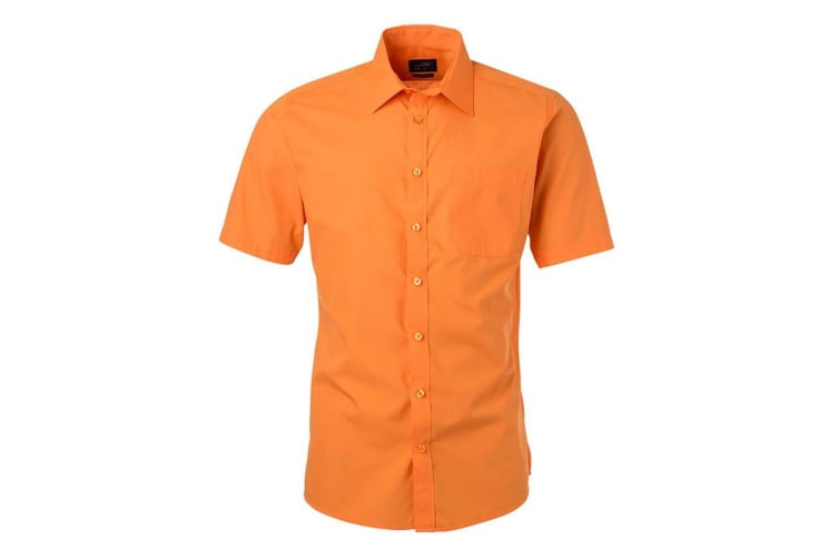 James and Nicholson Mens Shortsleeve Poplin Shirt (Orange) (M)