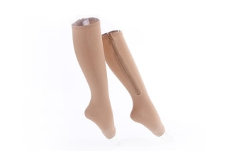 Easy On And Off Toeless Zip Up Compression Socks Beige S-M