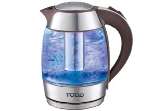 TODO 1.8L Glass Cordless Kettle 2200W Blue Led S/Steel Kitchen Water Jug 360