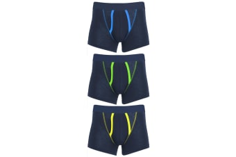 Tom Franks Mens A-front Boxer Shorts Underwear (3 Pack) (NAVY) (Large)
