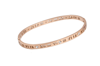 Select Mall Creative Fashion Hollow Roman Numerals Shiny Bracelet Female Rose Gold Bracelet Bracelet-1