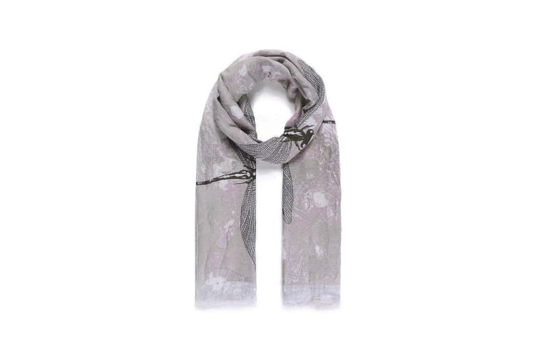 Intrigue Womens/Ladies Large Dragonfly Print Scarf (Grey) (One Size)