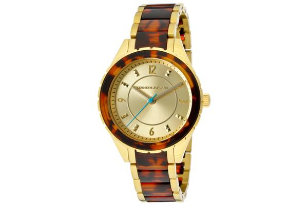 KJ LANE Women's Gold Sunray Dial Goldtone IP Stainless Steel and Tortoise Resin (KJLANE-2203)