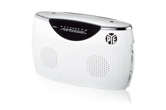 PYE White Portable AM-FM Radio Speaker w/ 3.5mm Aux in/AC/DC/Battery Powered