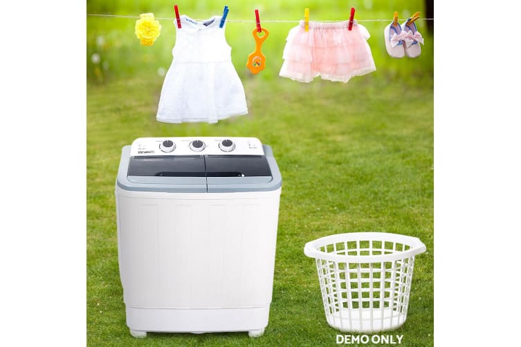Devanti 5kg Mini Portable Washing Machine Twin Tub Spin Top Loader Camping Boat