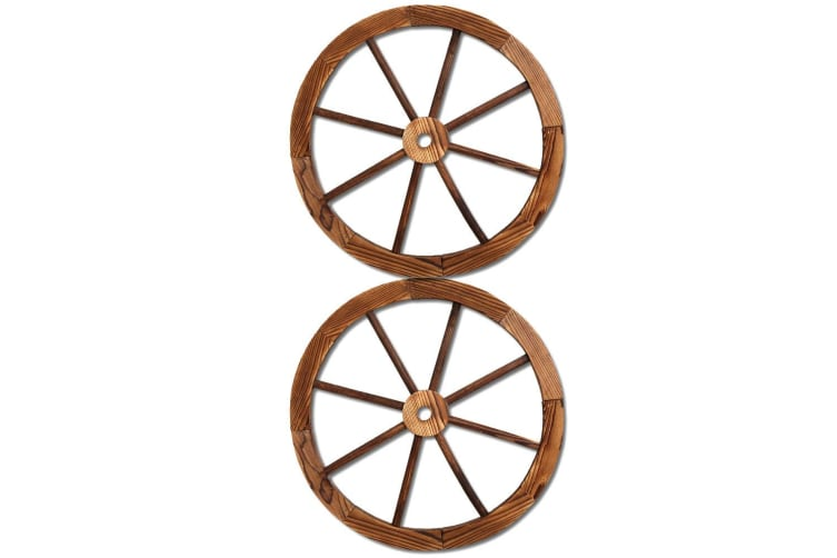 2X Wooden Wagon Wheel Rustic Outdoor Garden Decor Indoor Wall Feature