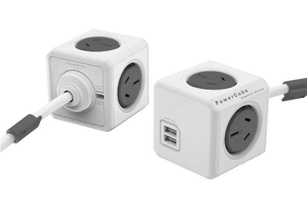 Allocacoc PowerCube 3m with 4 Power Outlets & 2 USB - Grey (ALL-POWERCUBE5404-GY)